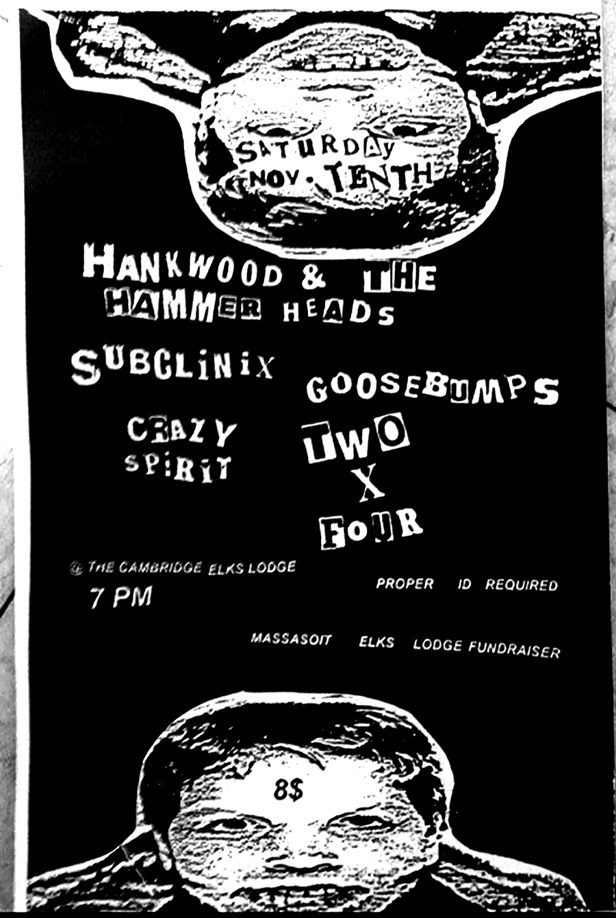 Poster for Hank Wood & The Hammerheads, Goosebumps, & Crazy Spirit (NYC) in Boston, MA. 2012.
