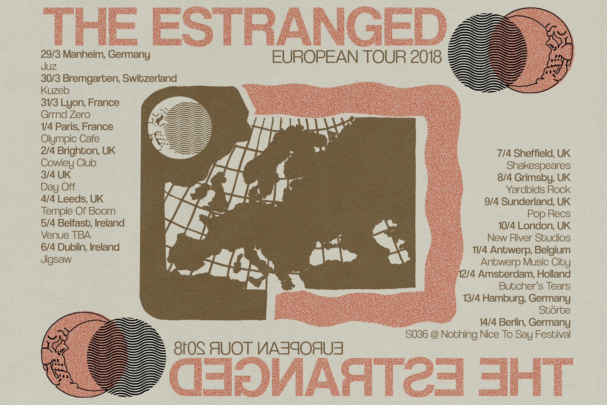 Poster for The Estranged (Portland, OR) European Tour. 2018