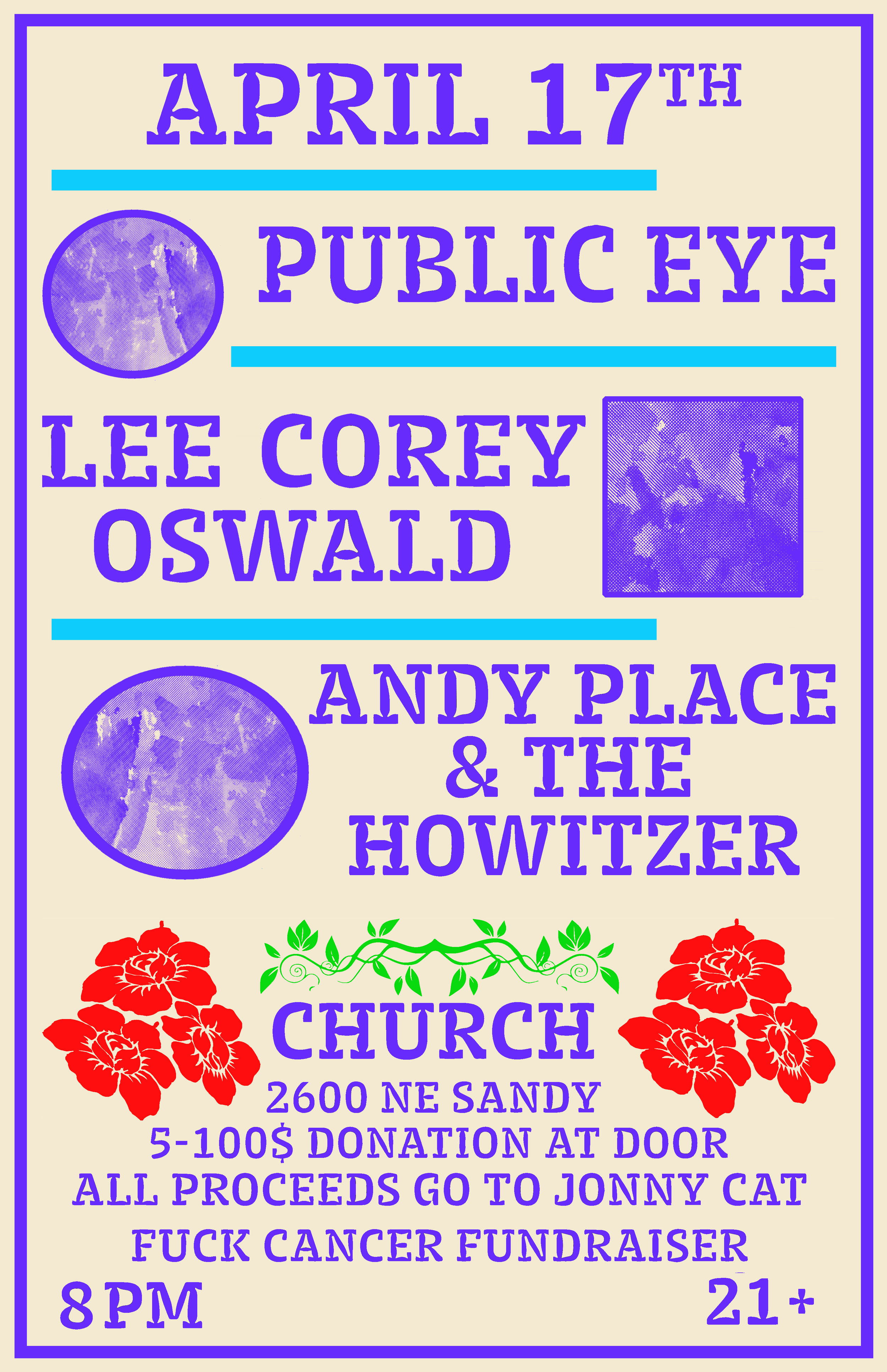 Poster for local benefit event in Portland, OR. 2017