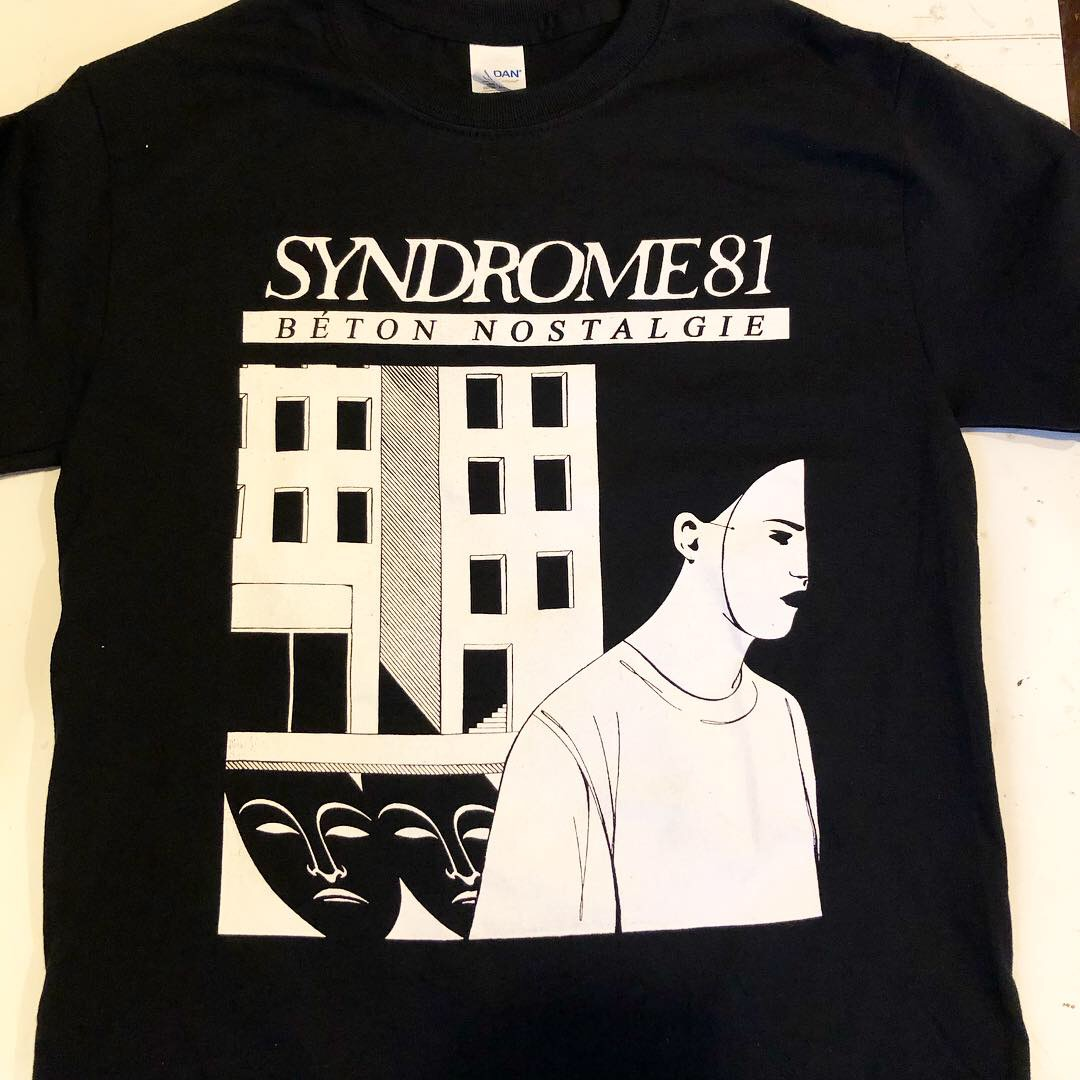 1-color discharge white print for Syndrome 81 from Paris, France