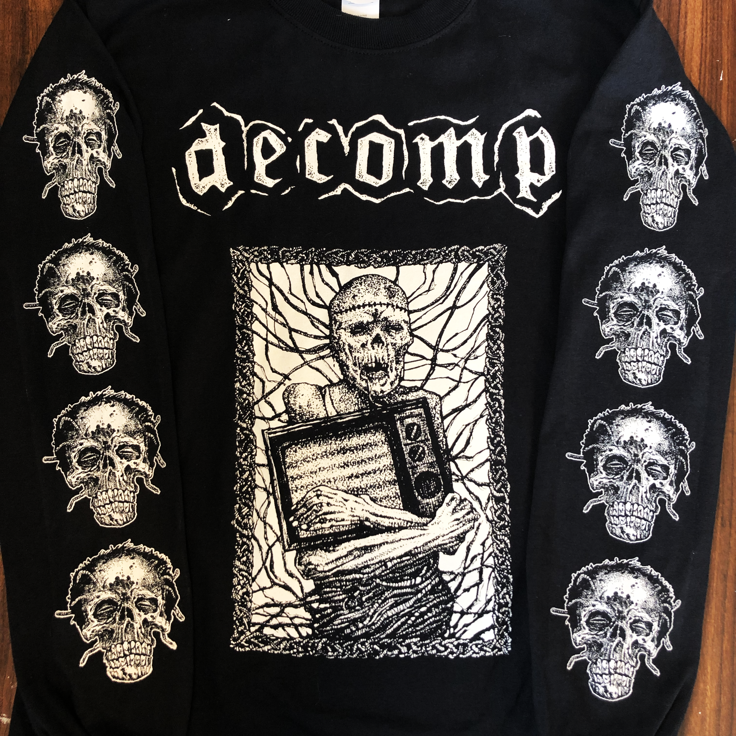 longsleeve discharge print for Decomp from Portland, OR. 2019