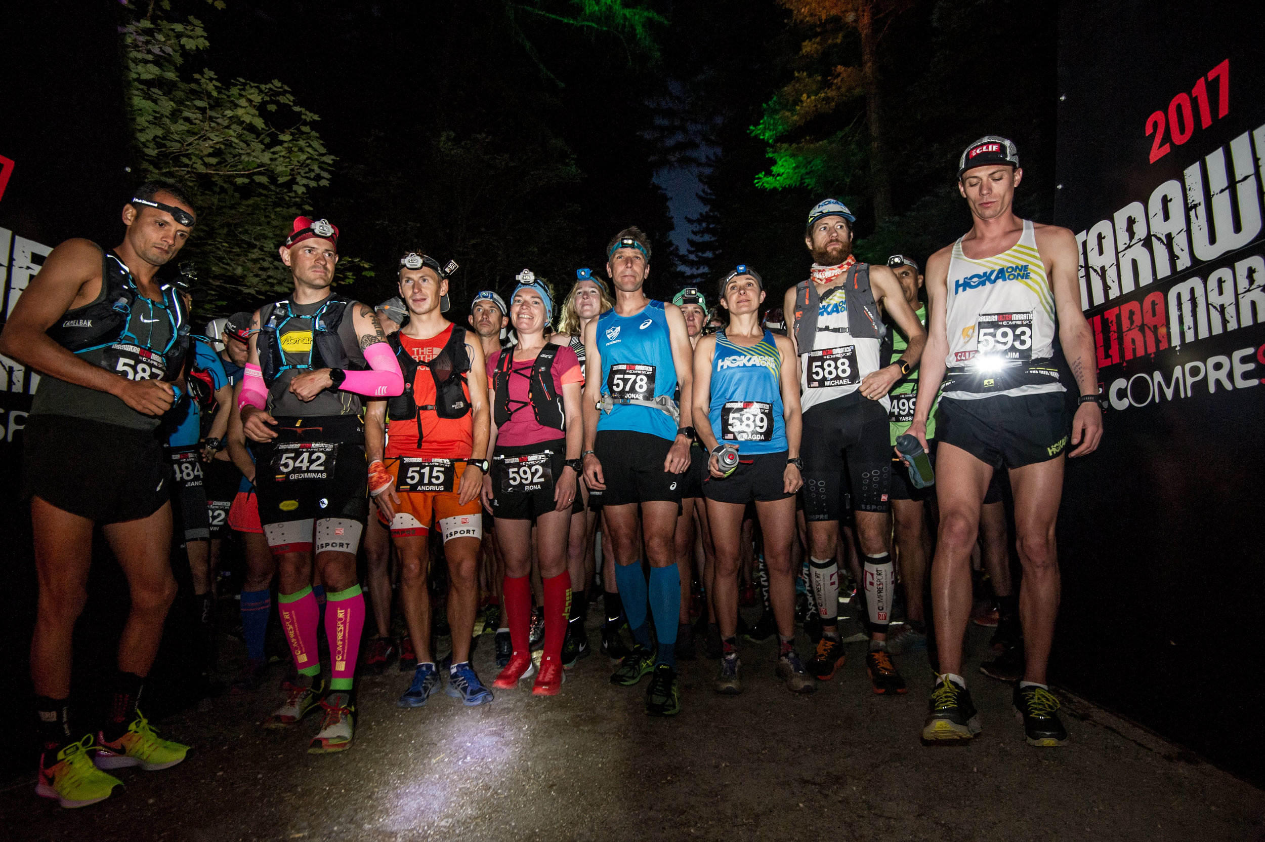 Fiona Hayvice, centre, all smiles at the start of the 2017 Tarawera Ultra. Image:  Graeme Murray