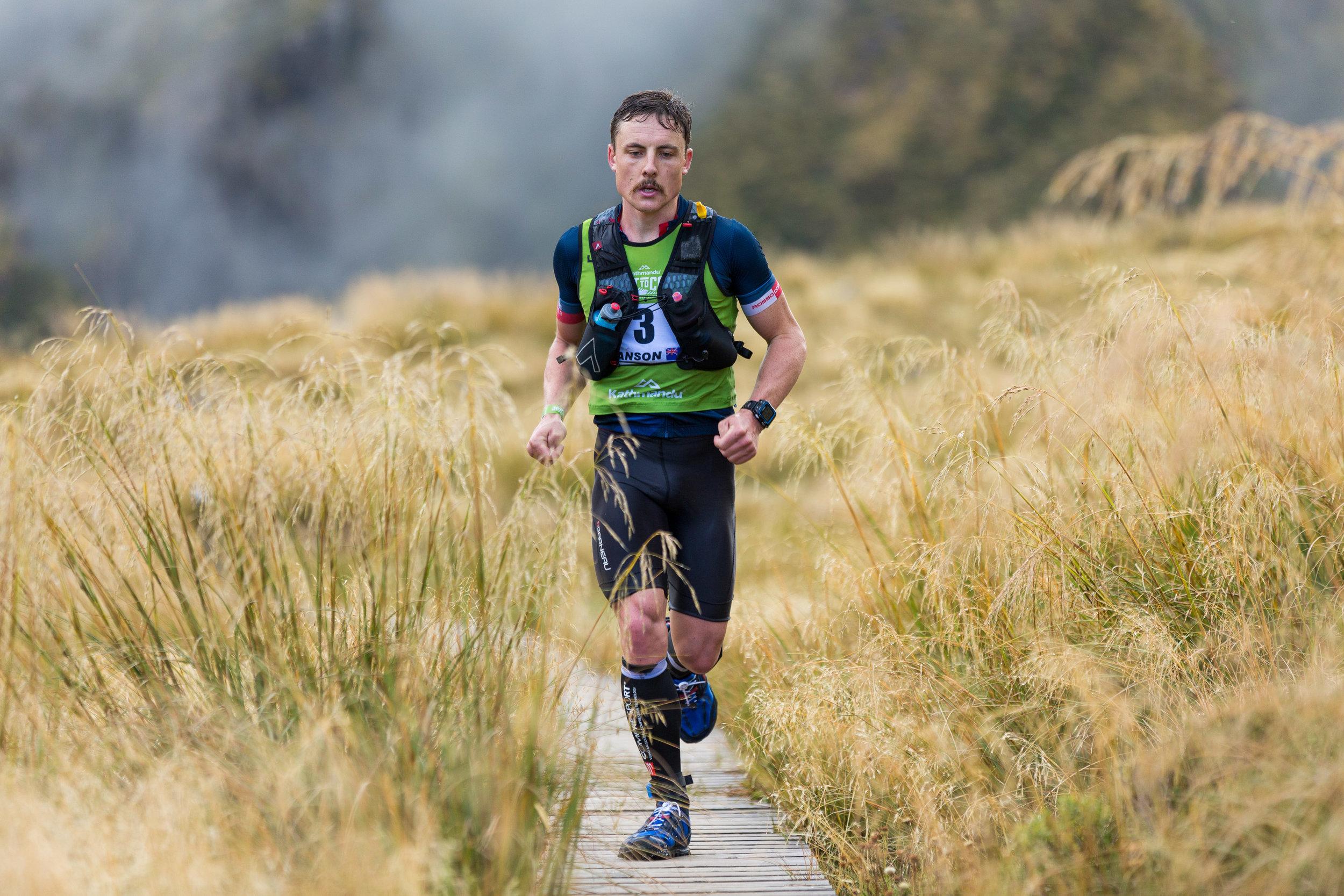 Sam Manson on the Coast to Coast run course. Photo: Marathon Photos