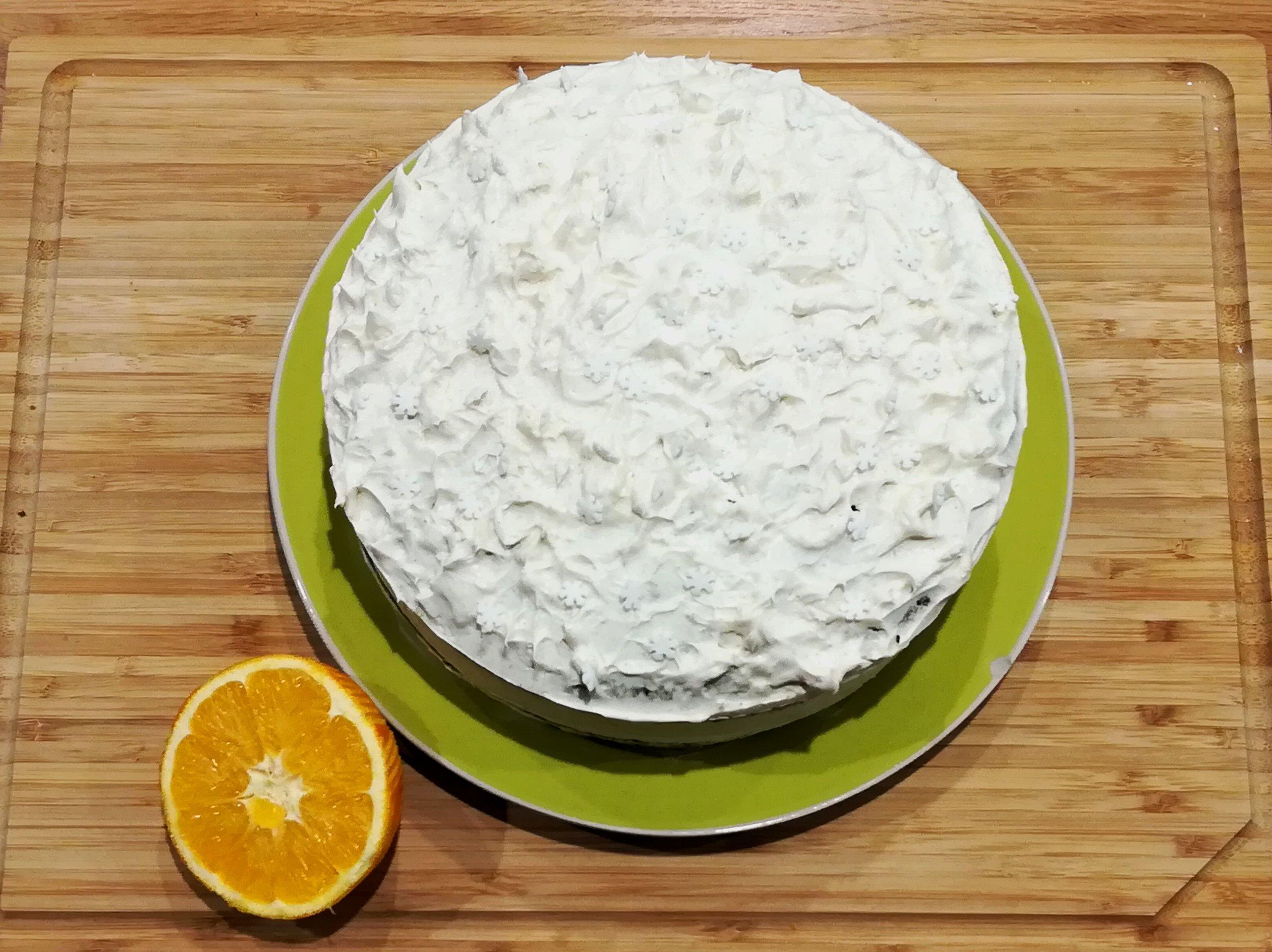 Snowflake decoration definitely essential to top this cake!