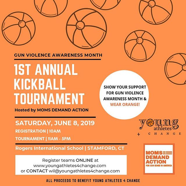 Saturday June 8th 2019 @youngathletes4change & Moms Demands Action are hosting the 1st Annual Kick 4 Change Kickball tournament Charity event,  for Gun Violence Awareness month. Register your team of 12 at www.youngathletes4change.com or email chelsea.s.starks@gmail.com . . . #youngathletes4change #MillionDollarSmile #gunviolenceawarenessmonth #Kick4ChangeCharityKickTournament #letsendgunviolence #changetheconversation #stamfordlocal #stamford #newyork #connecticut #westchester #WearOrange