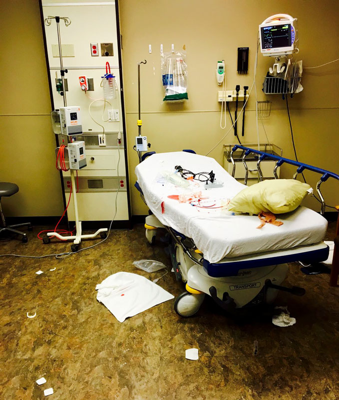 Emergency room janitorial staff workers are under appreciated in my experience. This is from a small North Carolina ER where I frequently work.