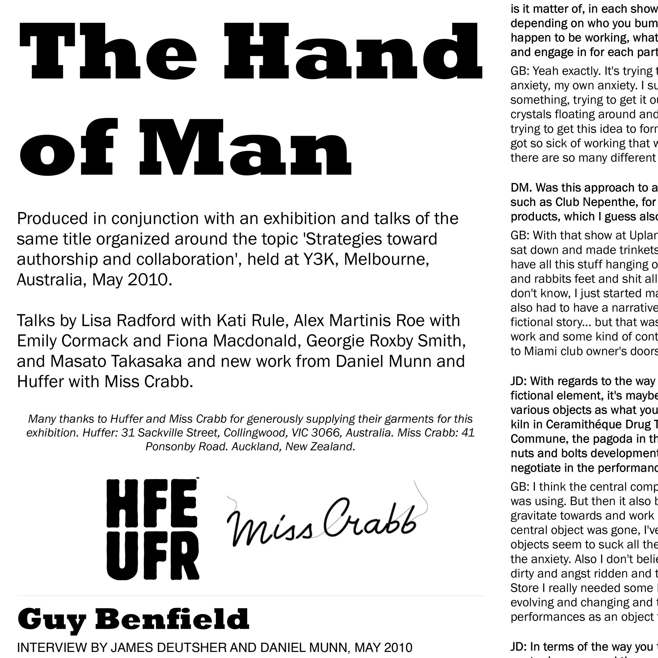 The Hand of Man - EXHIBITIONY3K, Melbourne, AU
