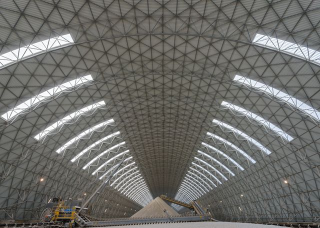 Longitudinal storage dome for limestone and additives, 60m x 300m