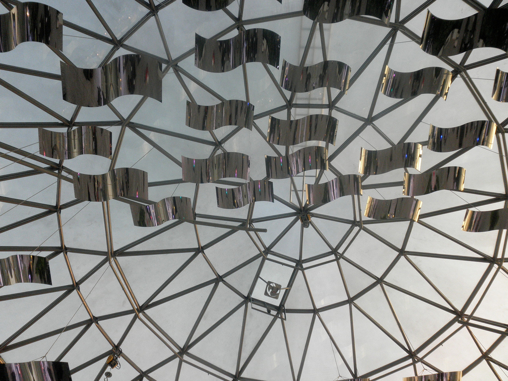 An interior view of the dome structure and glass cladding.