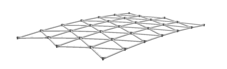 Single layer geometries are used for moderate spans, for architectural applications, and for long span applications when used with oval or rectangular tubes.