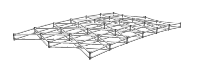 Vierendeel geometries can be used for most circular domes and freedomes. These are double-layer frames with parallel nodes in each layer connected with post members perpendicular to the dome's surface. The second layer increases the bending strength and the buckling resistance without introducing unnecessary web elements.
