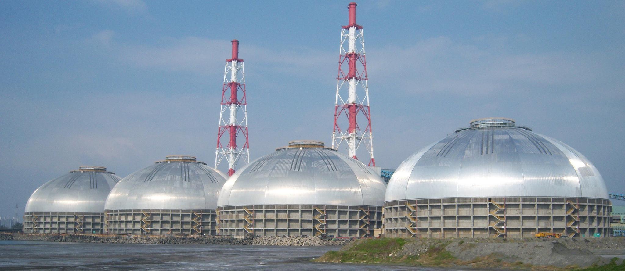 Tai Power, 4 x 126m coal storage domes, Taiwan
