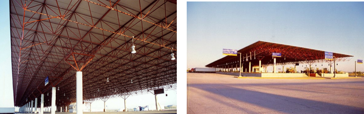 Barrier-free space frames help organize the flow of inbound and outbound traffic at the border port of entry between Nuevo Laredo, Mexico and Laredo, Texas.