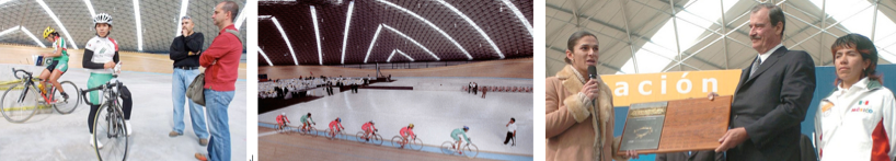 Under soaring ceilings, bicycle enthusiasts enjoy the impressive wooden track. The space occasionally doubles as a performance site for musical talents and concert-goers. It has also been visited by its fair share of government dignitaries, such as President Fox (above right).