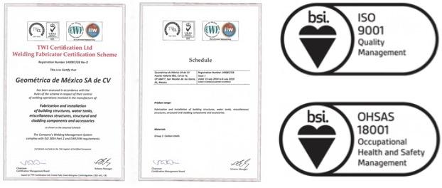 Geometrica recibe certificaciones de seguridad y garantía de calidad como un constructor de cúpulas de primer nivel.