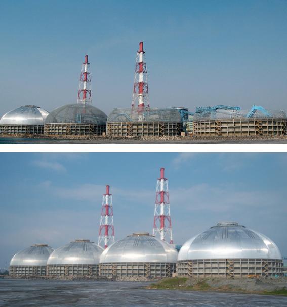 Estación Hsin-Ta, Tai Power, Taiwán — cuatro domos circulares de almacenamiento de carbón antes y después de la instalación