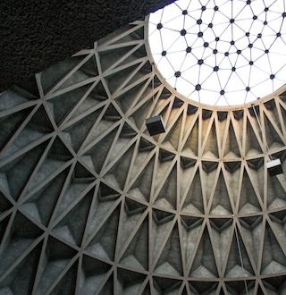 Contemporary, glazed oculus skylight still brings light through apex