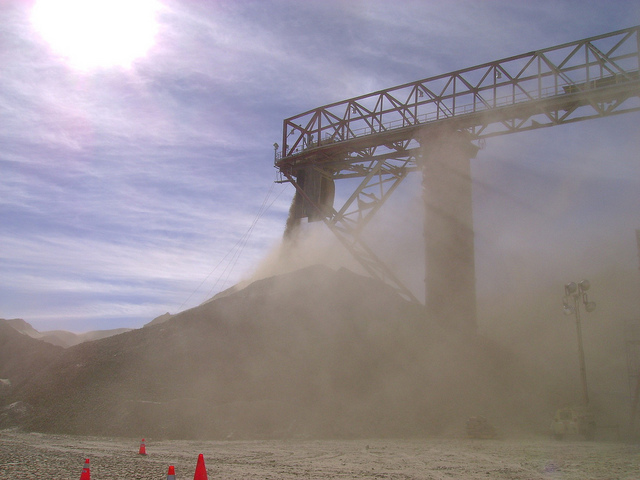 Open air stockpiles - exposed to the elements with lots of fugitive dust