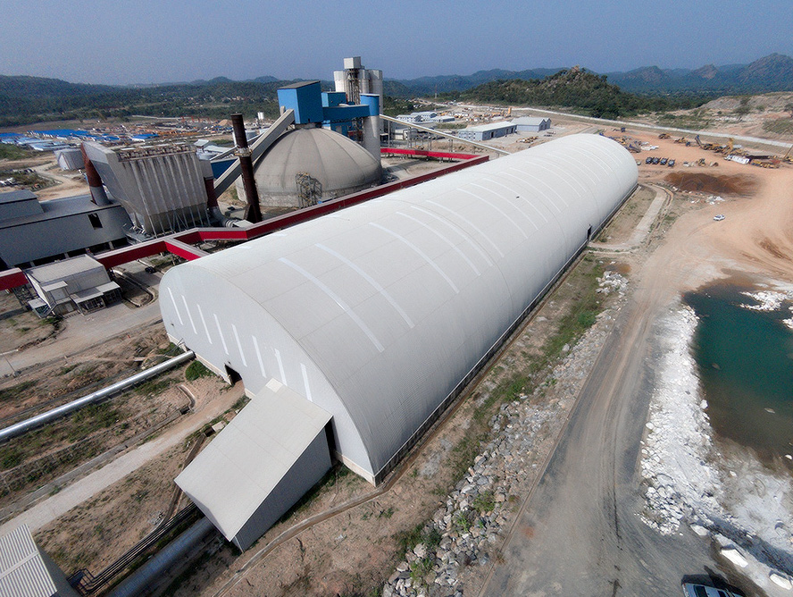 Edo Cement's longitudinal domes for limestone and additives storage (Nigeria)
