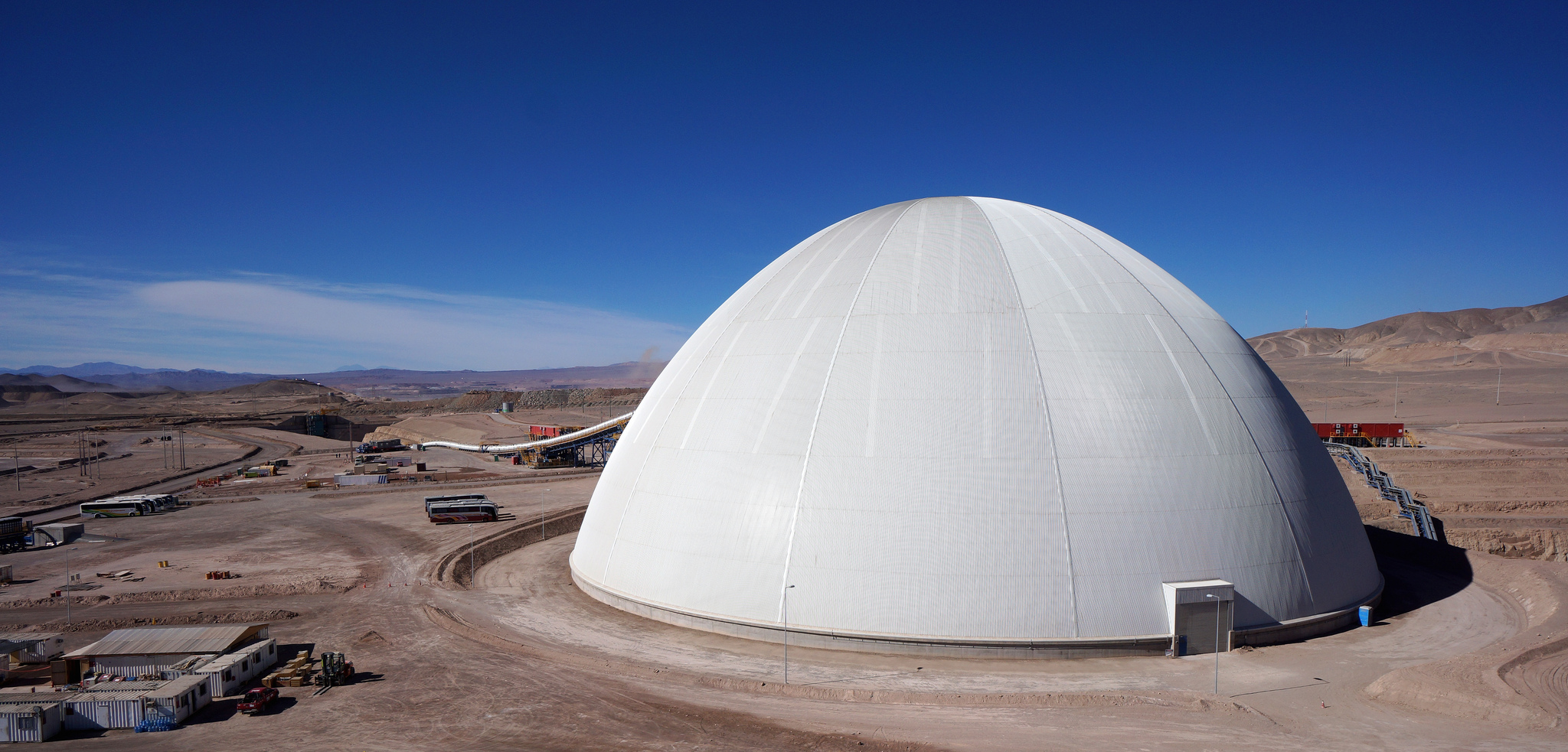 122m dome cover for a copper ore stockpile at Sierra Gorda mine in Chile