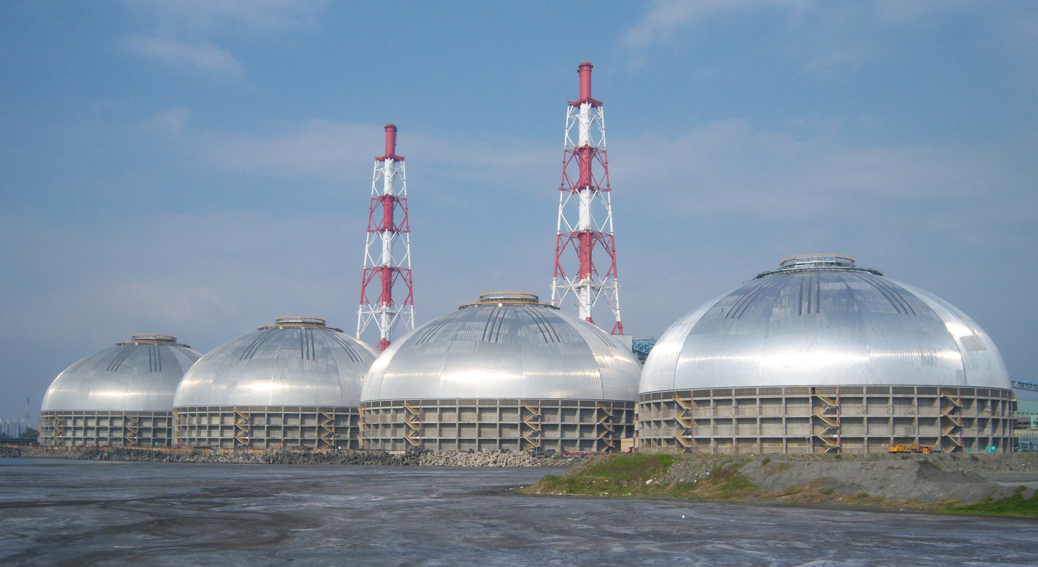 4 x 126m Tai Power coal domes in Kaohsiung, Taiwan.