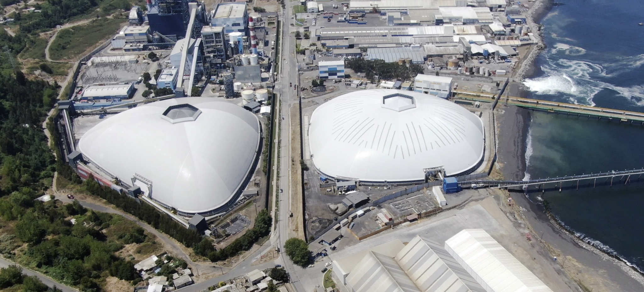 Enel Bocamina domes span 207m and 181m respectively. Coronel, Chile.