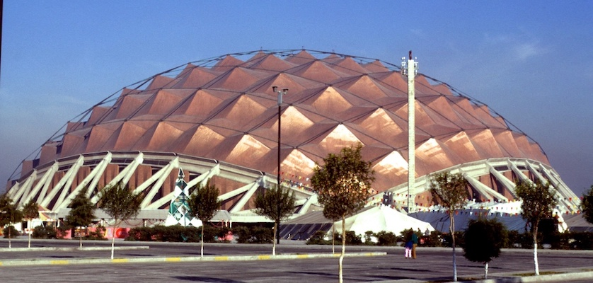 Copper shingles over a wood deck were used to cover the hyperbolic paraboloids of the Sport Palace.