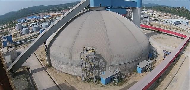 Edo's cement clinker storage dome in Nigeria.