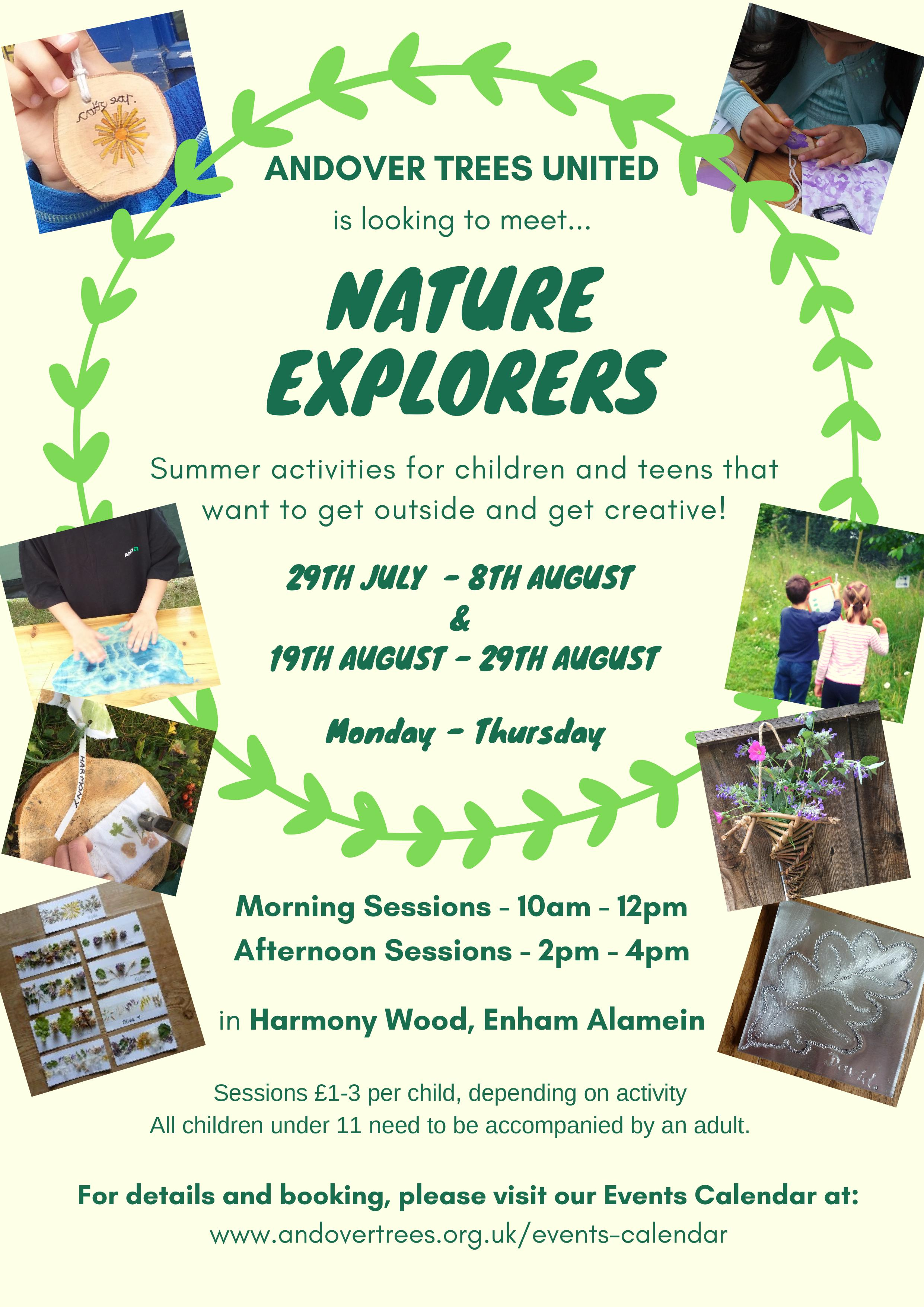 Atu Calendar.Nature Explorers Summer Playscheme Harmony Woods Andover Trees