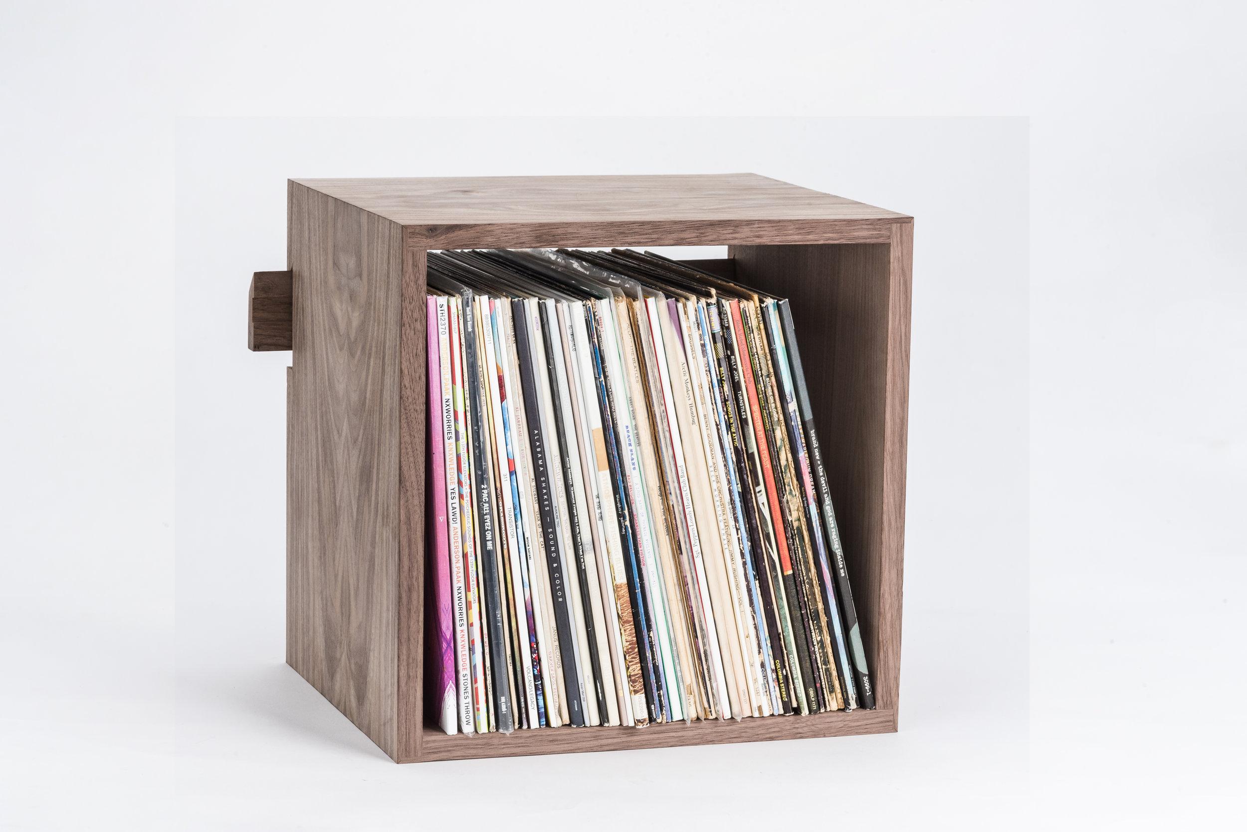 Deep Cut Record Shelf in Walnut