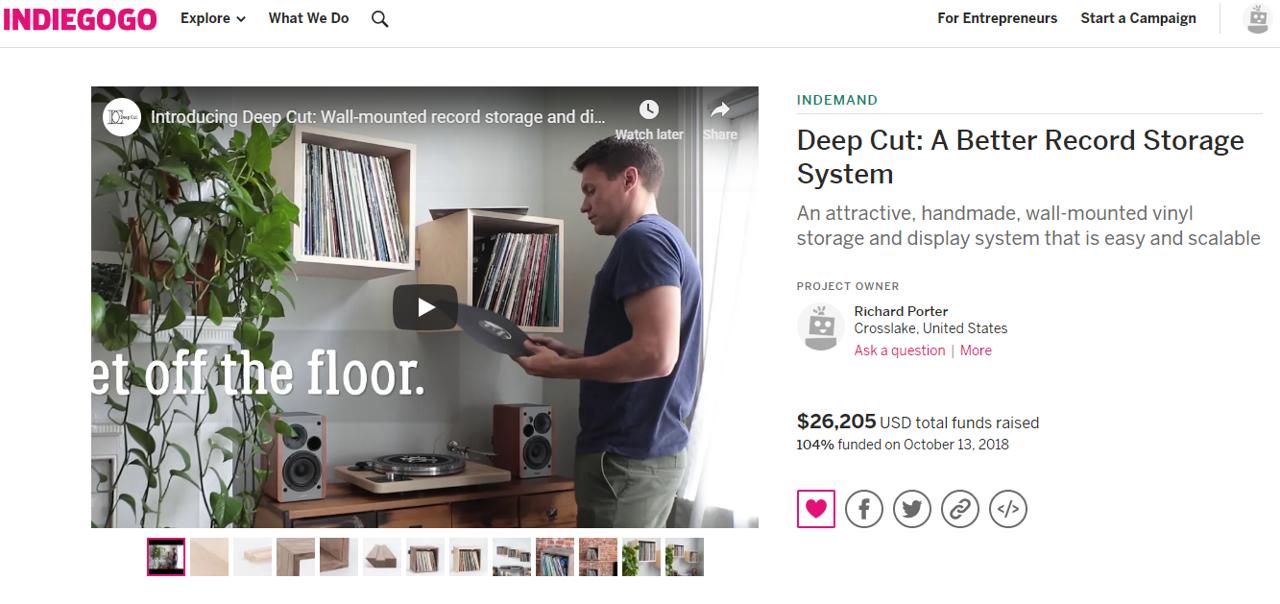 Deep Cut Record Shelf Indiegogo Campaign Success