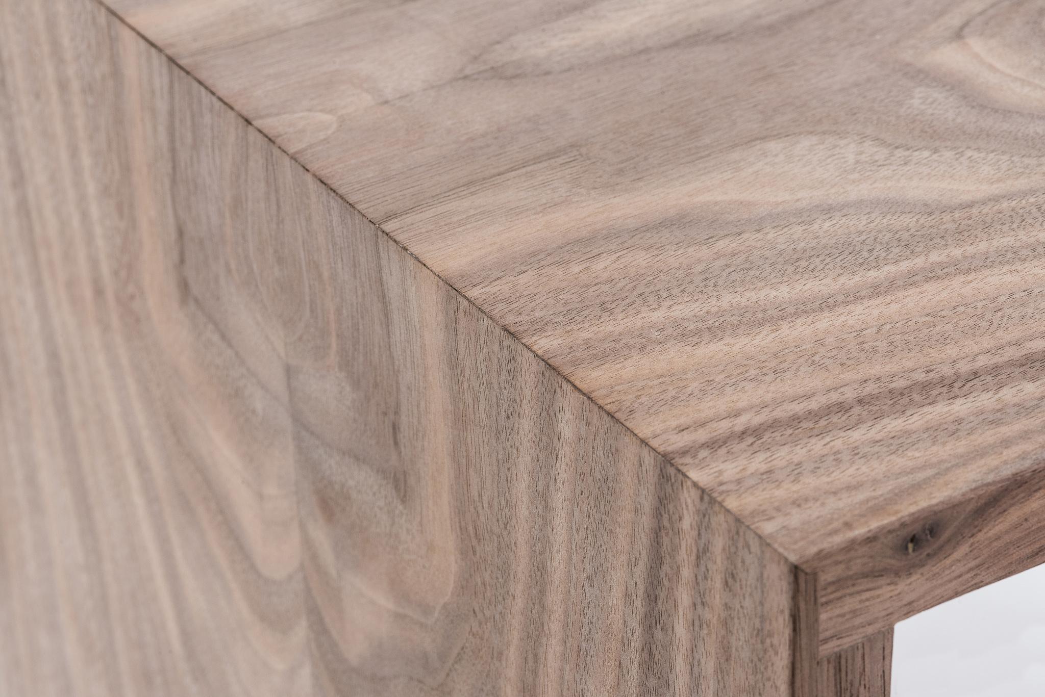 Continuous grain flow of walnut Deep Cut cube shelves