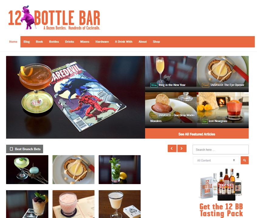 12bottlebar.com, a fantastic resource for cocktail craft in a realistic world