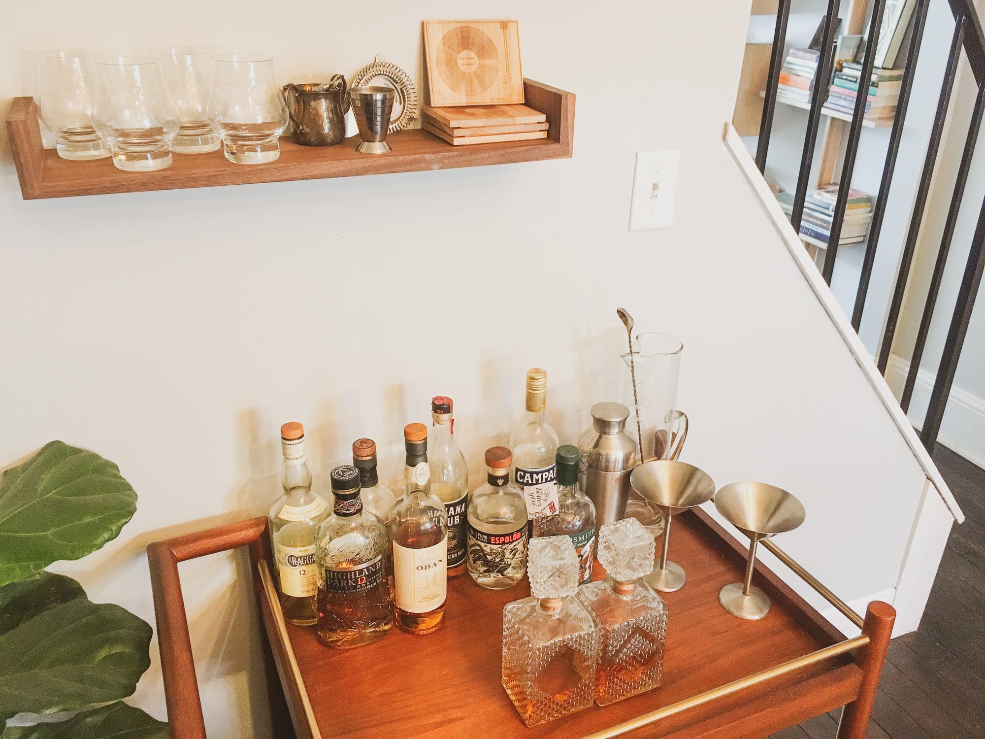 Deep Cut Bar Cart with Handmade Minimalist Shelves in Walnut-2.jpg