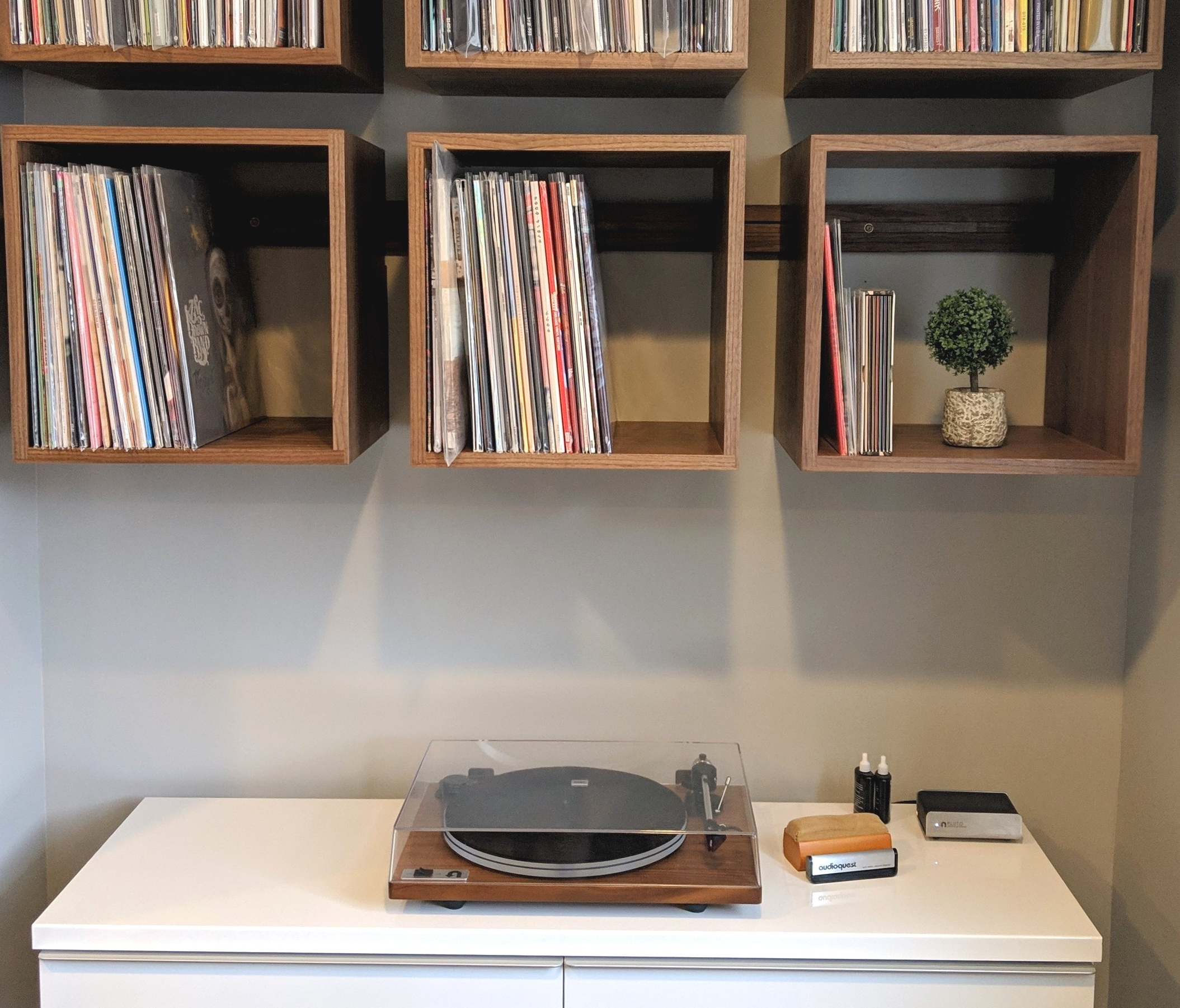 Minimalist set up with a U-Turn Special on a walnut base hooked up to a traditional receiver via wifi.