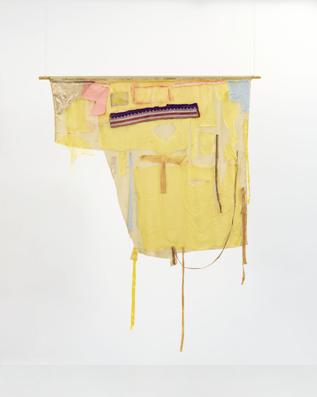 - 26. Peter Brandt. Yes and More No, 2016-17. Sculptural two-sided banner, applicated fabric, embroidery, pearls, oil paint, pencil and wood. 193 x 135 x 2 cm.