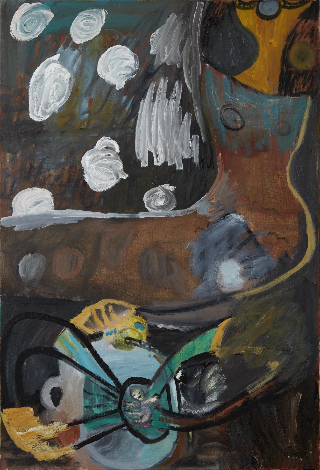 Maria Wæhrens. UD AF MOR (the gift), 2017. Oil on canvas. 120 cm. x 80 cm.