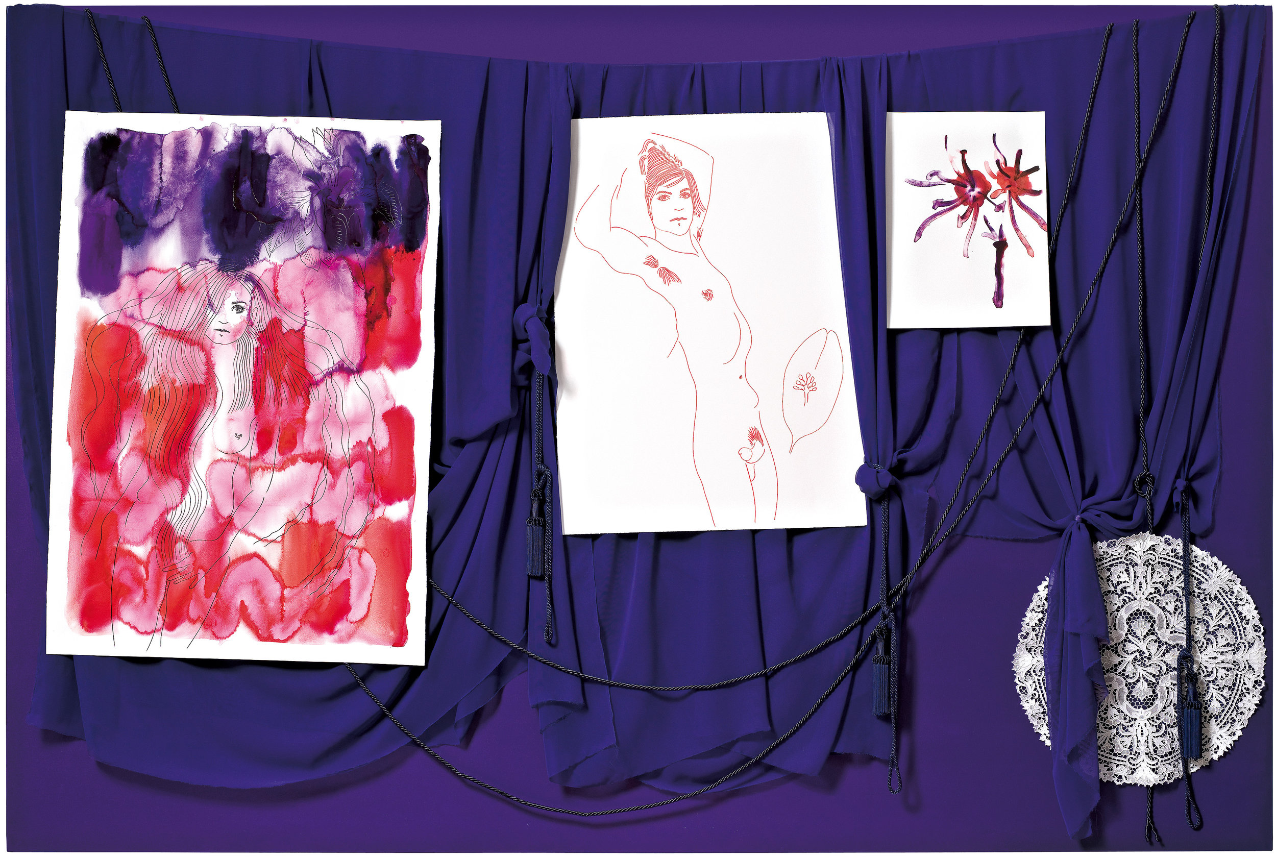Dorte Jelstrup. With You I Wanna Go Where Peaceful Waters Flow, I, 2006. Gouache, pen and ink drawings, watercolour, chiffon, silk ribbons, wool ribbons, silk tassels, lace figure and acrylic on canvas. 156 x 234 cm. Collection The National Gallery of Denmark/Statens Museum for Kunst.