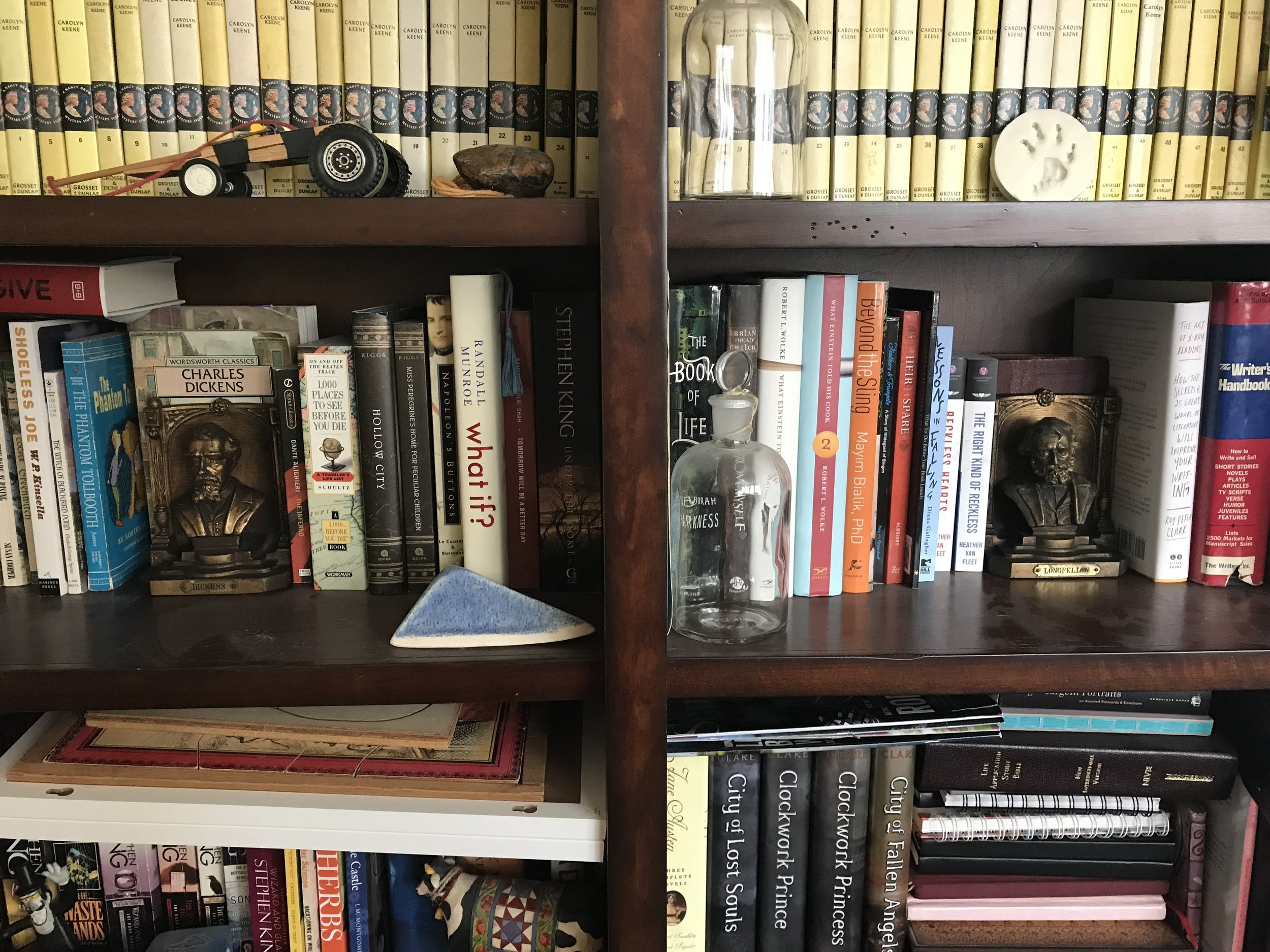Some of my cluttered, crowded shelves.