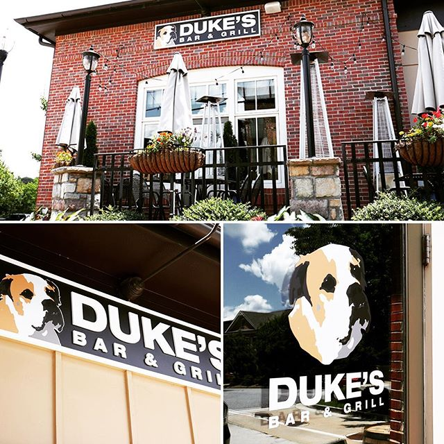 Duke the dog lookin' good on these killer new signs we designed, fabricated and installed over at Duke's in Milton!  #signs #signinstallation #miltonga #flatcutletters #dimensionalsigns #liveforsigns