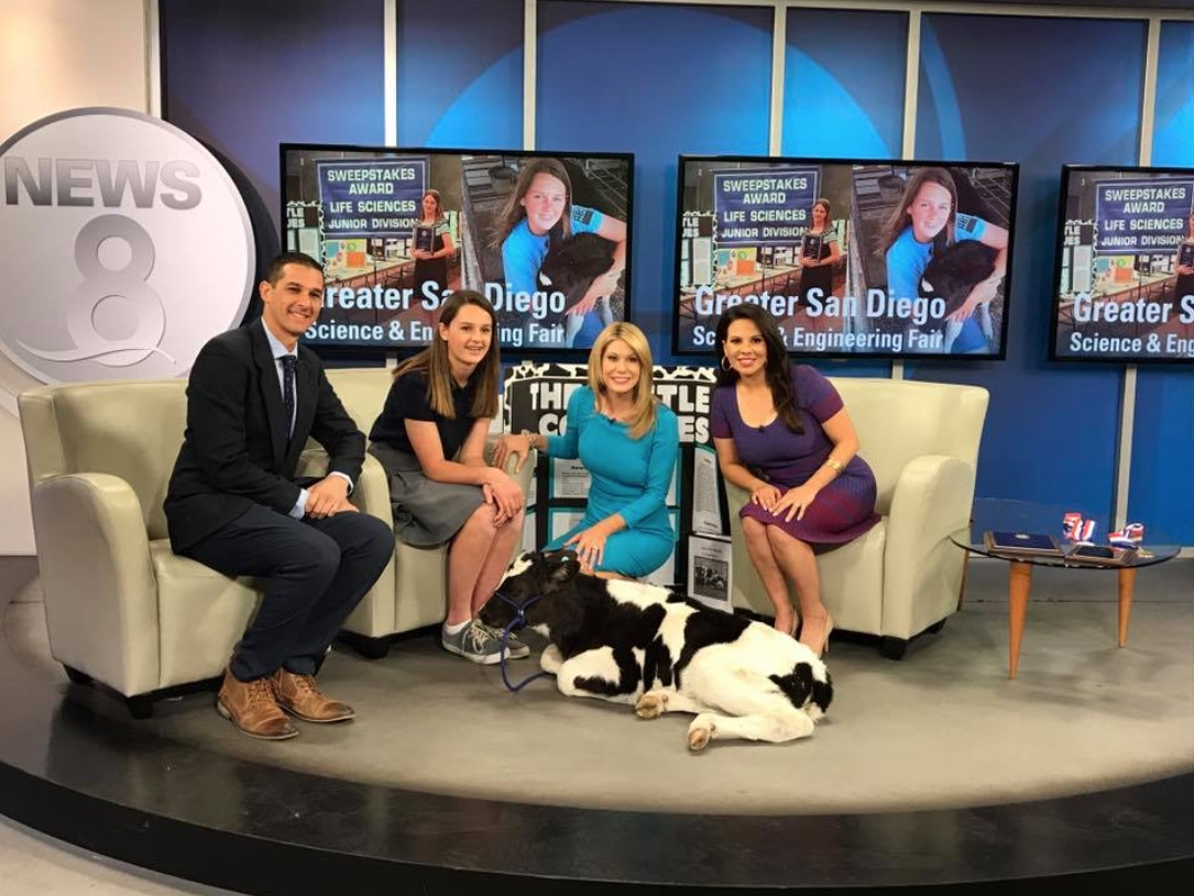 Kylie Konyn on KFMB discussing her many awards, love for the California Dairy Industry, and promoting the Greater San Diego Science and Engineering Fair with anchors Heather Myers, Steve Price and Nichelle Medina.