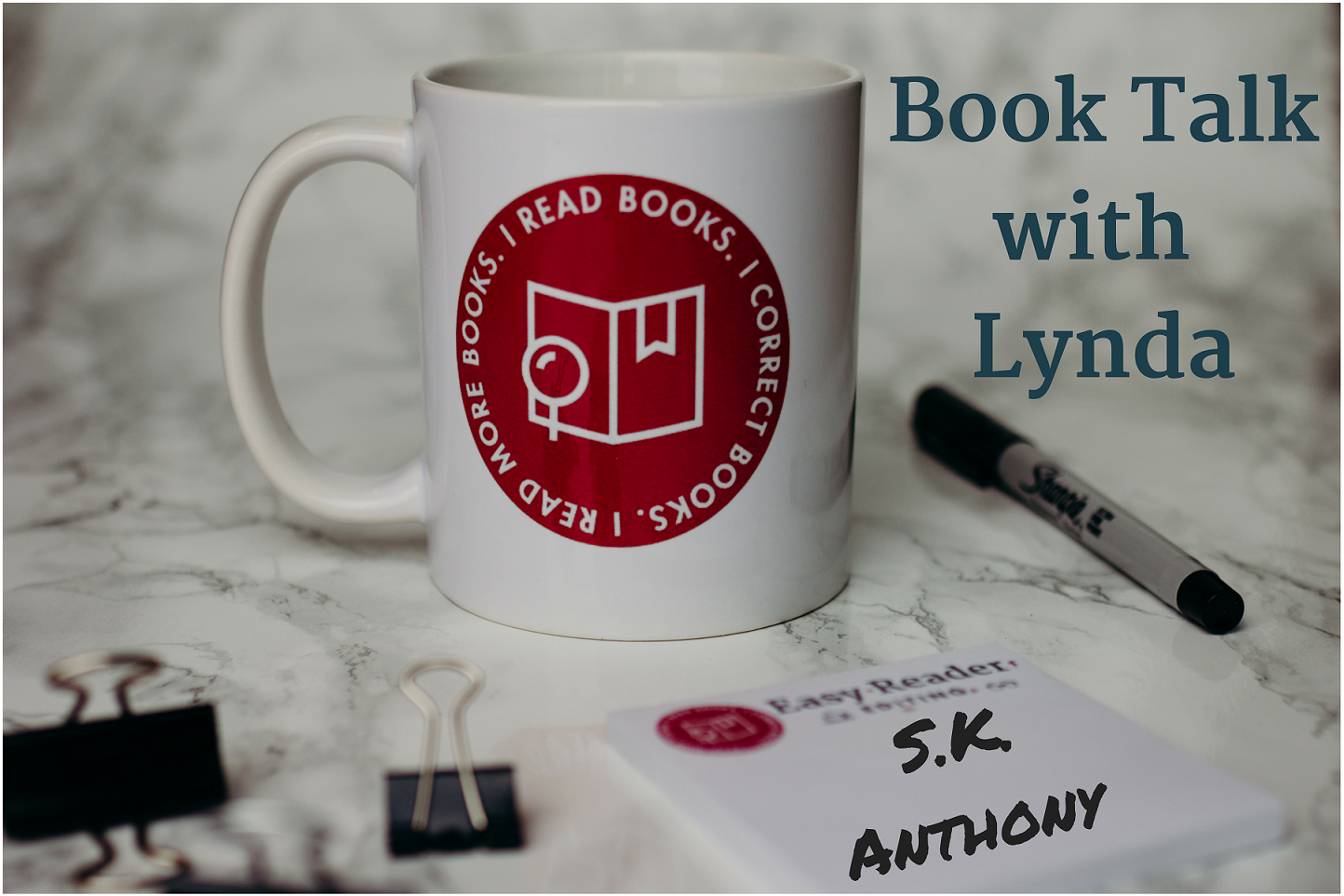 Book Talk with Lynda S.K. Anthony coffee cup with post-it note