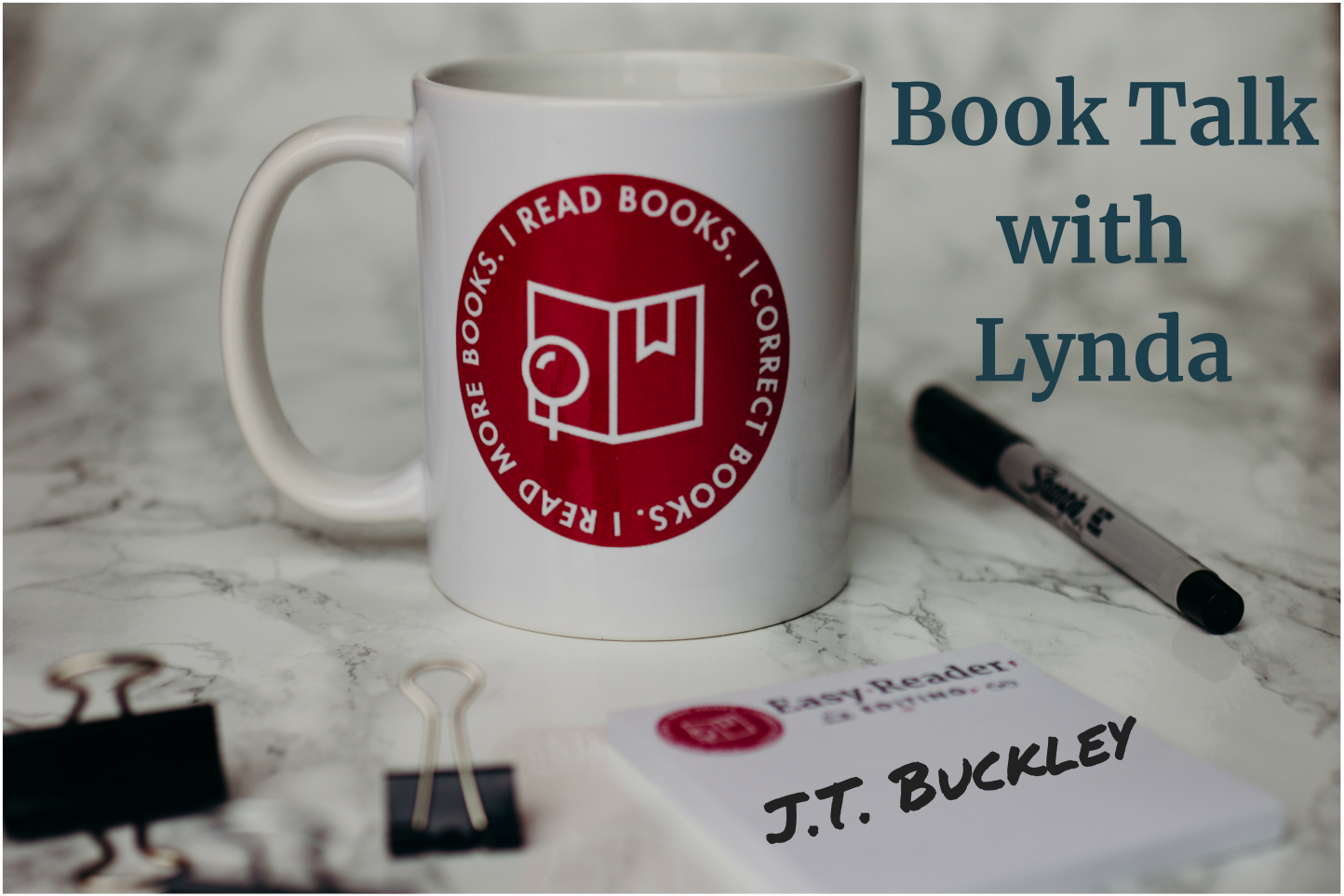 Book Talk with Lynda mug and post-it with JT Buckley