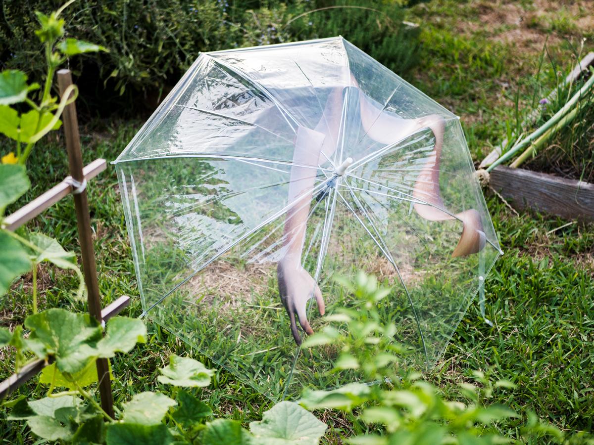"""Claire Lachow     Après moi, le déluge   UV print on vinyl, clear umbrella  approx. 42"""" x 30"""" x 30"""", 2018"""