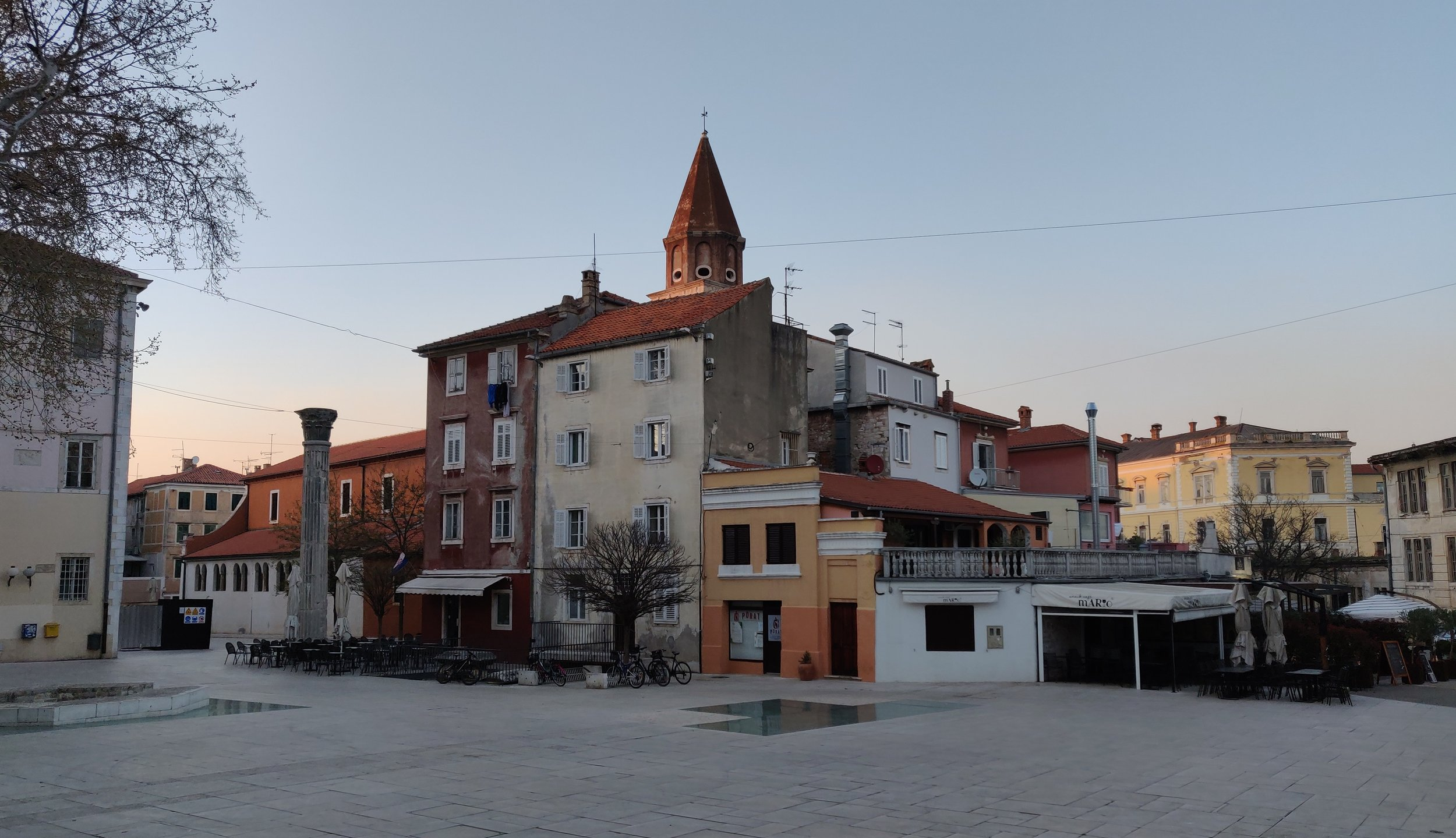 Sunset in courtyard in the historical district of Zadar.