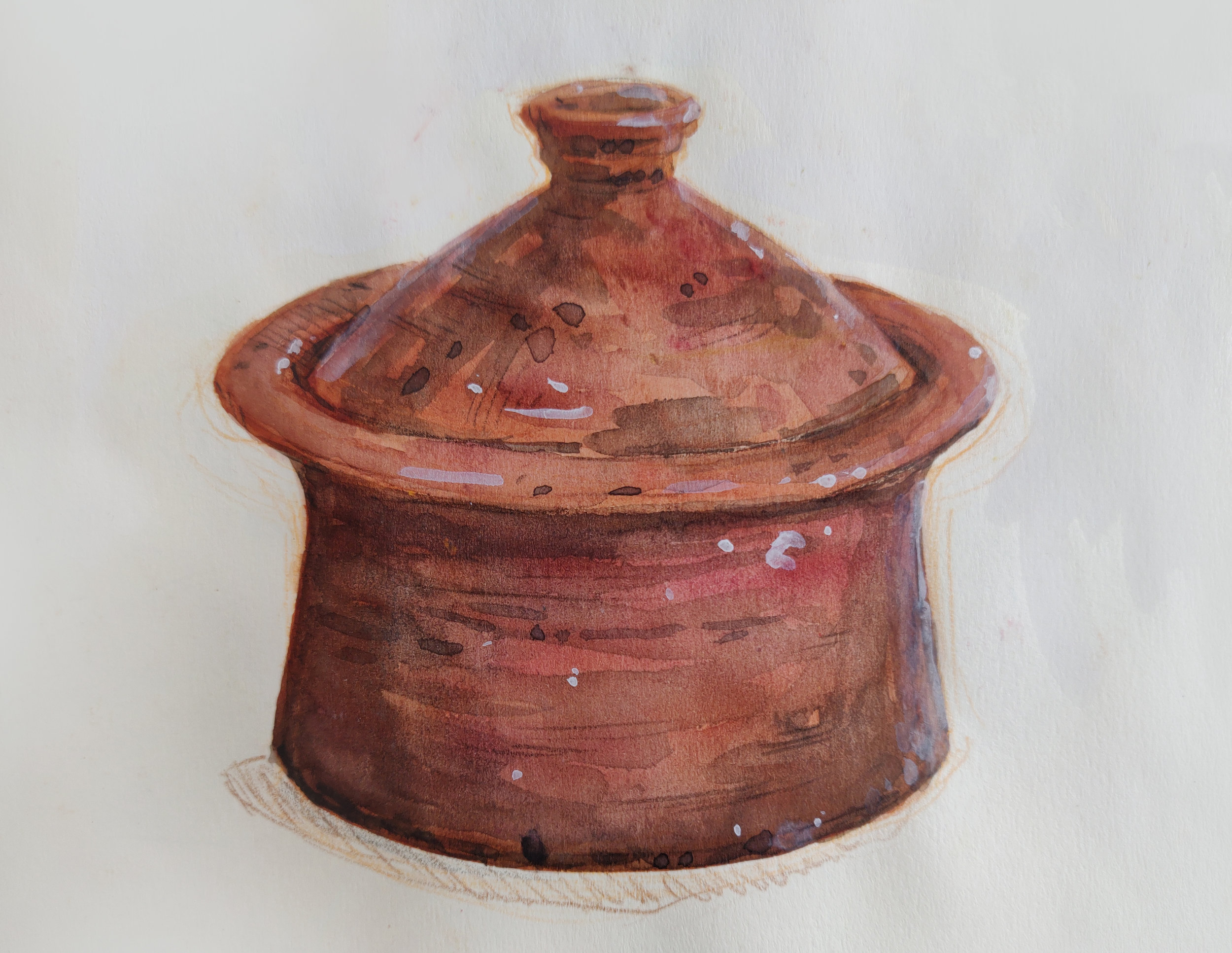 A clay cooking pot from the kitchen of the Berrechid school. (Clay cookware is common in Morocco.)