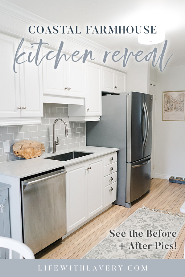 Coastal Farmhouse Kitchen Before and After White Cabinet Stainless Steel Flipper Subway Tile