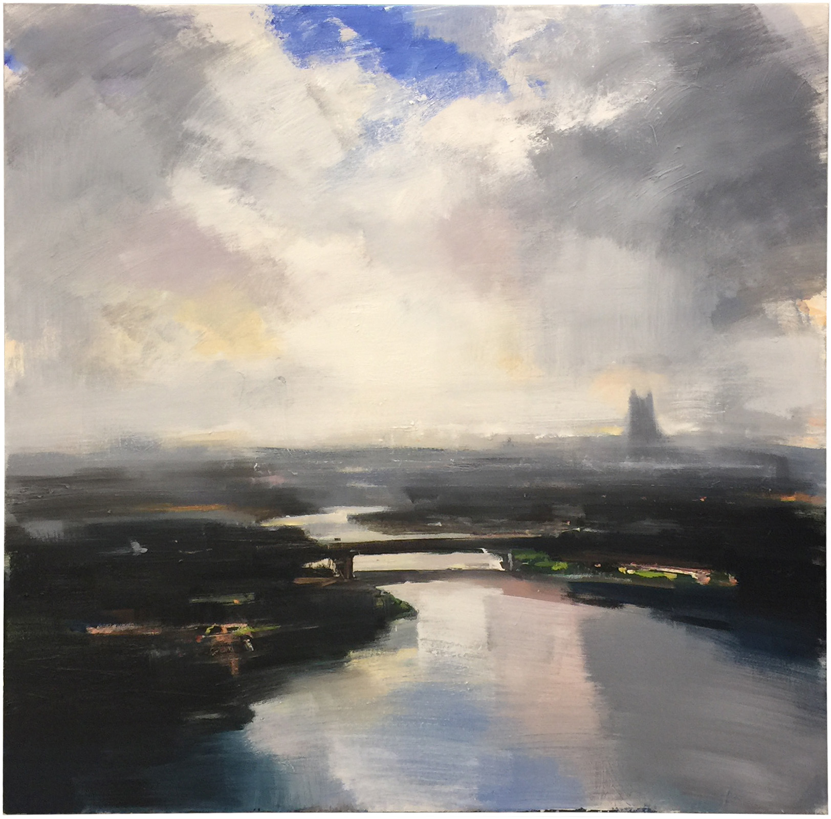 City River  oil on canvas 46 x 46 inches
