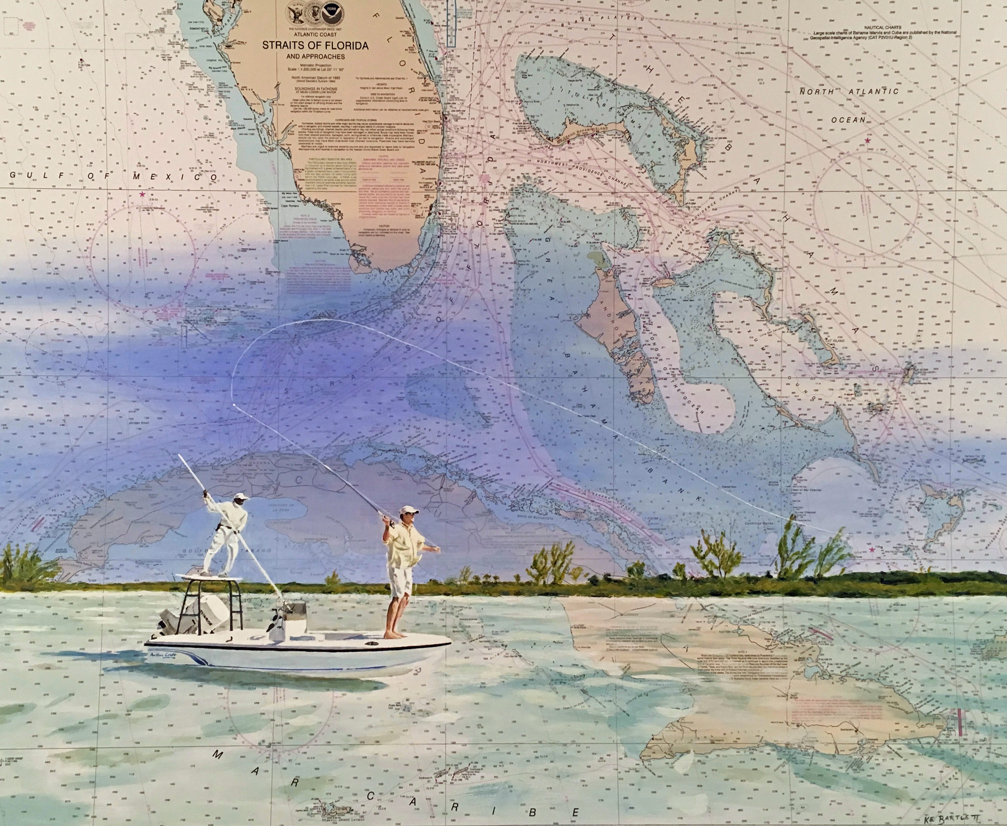 Bone Fishing, Straits of Florida  acrylic on nautical chart 36 x 45 inches