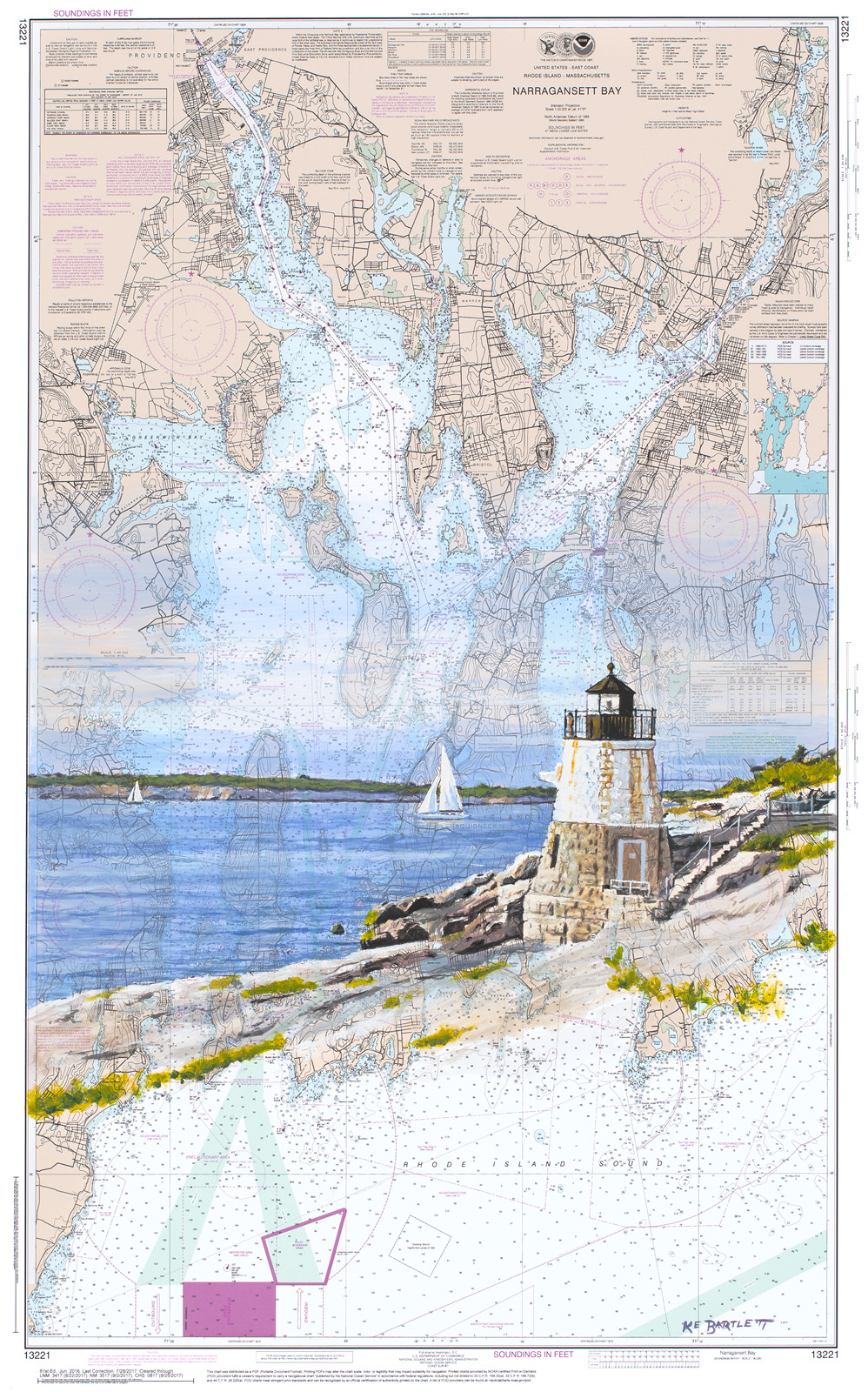Castle Hill Lighthouse  acrylic on nautical chart 24 x 15 inches